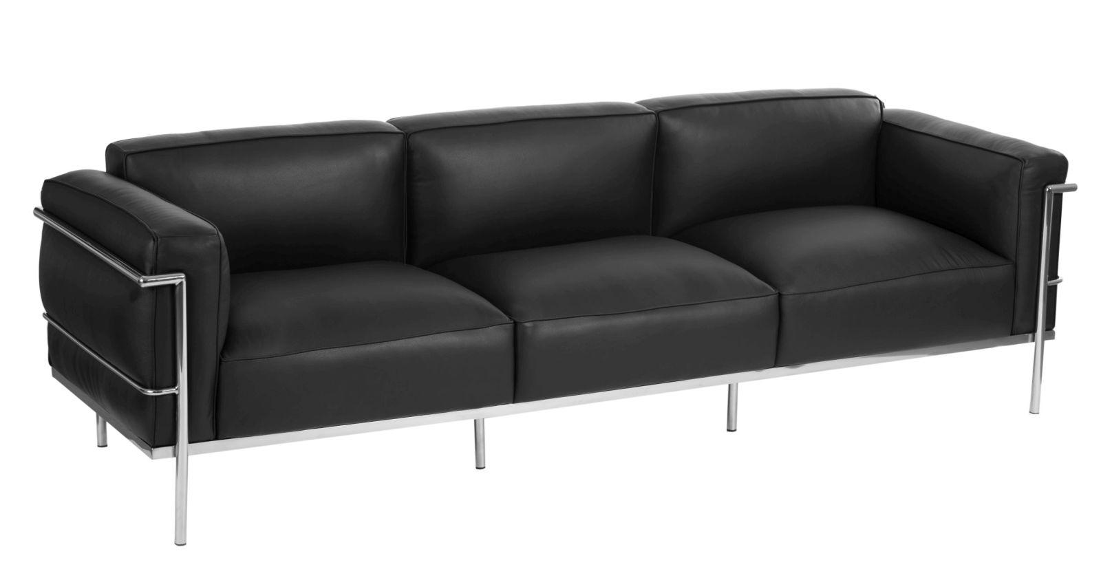 Sofa 3-osobowa Soft GC czarna skóra - zdjęcie nr 0