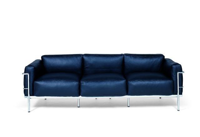 Sofa 3-osobowa Soft GC czarna skóra - zdjęcie nr 1