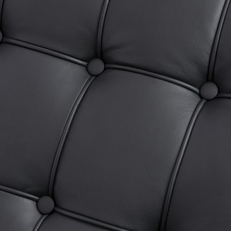 Sofa BA2 2 osobowa, czarna skóra naturalna - zdjęcie nr 3