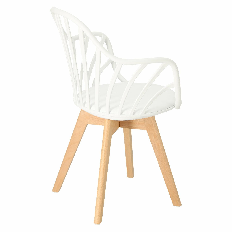 Krzesło Sirena z podłokietnikami białe - zdjęcie nr 3