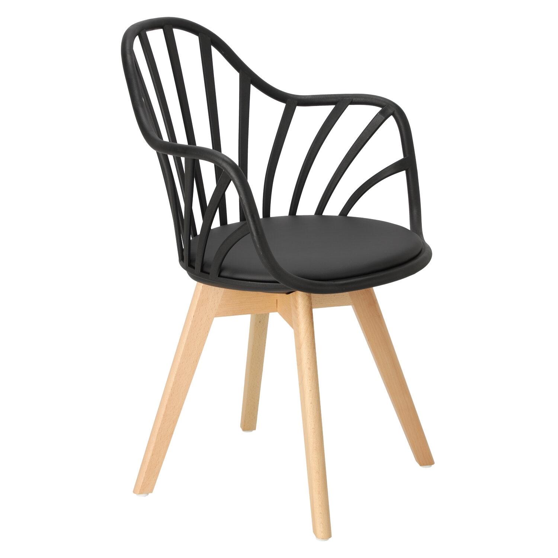 Krzesło Sirena z podłokietnikami czarne - zdjęcie nr 2