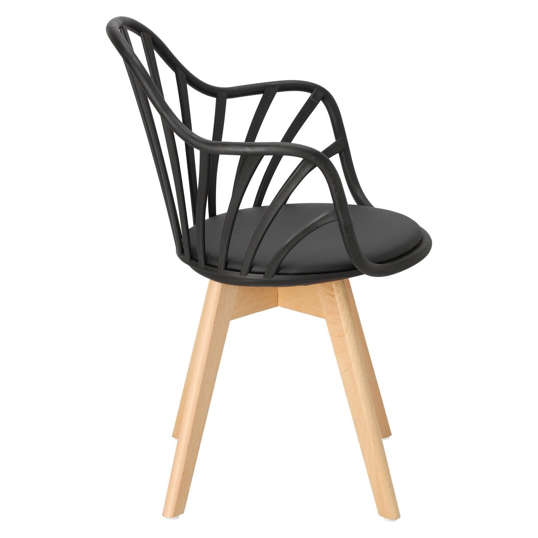 Krzesło Sirena z podłokietnikami czarne - zdjęcie nr 3