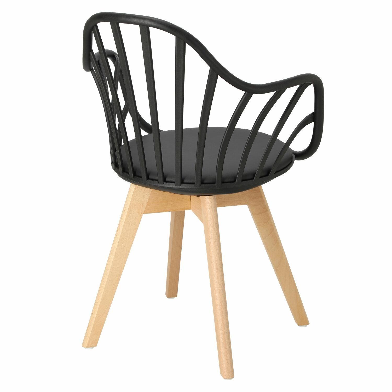 Krzesło Sirena z podłokietnikami czarne - zdjęcie nr 5