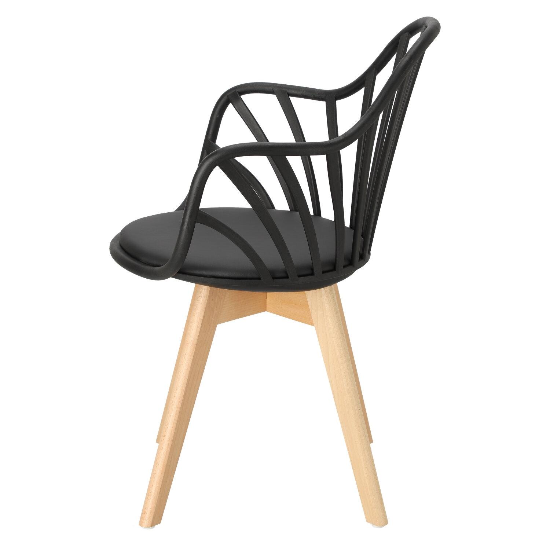 Krzesło Sirena z podłokietnikami czarne - zdjęcie nr 7