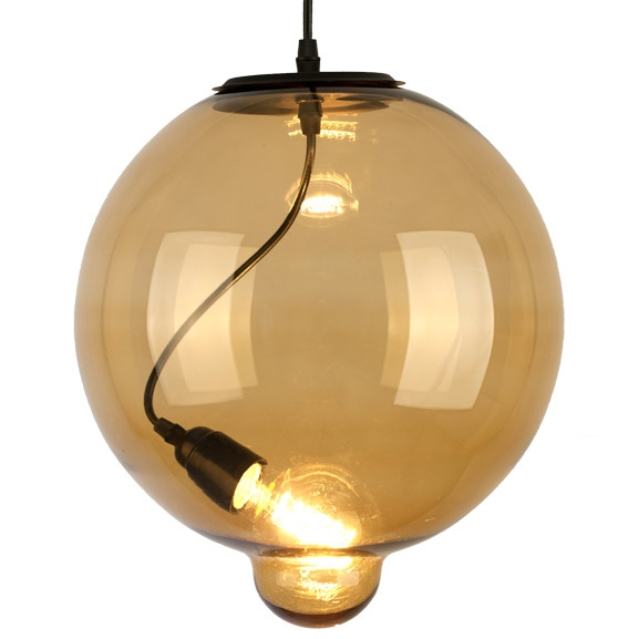Závěsné svítidlo Altavola Design Modern Glass Bubble jantarové