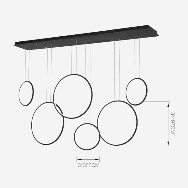 Lampa wisząca ledowe okręgi No.1 czarna 180 cm in 3k - zdjęcie nr 3