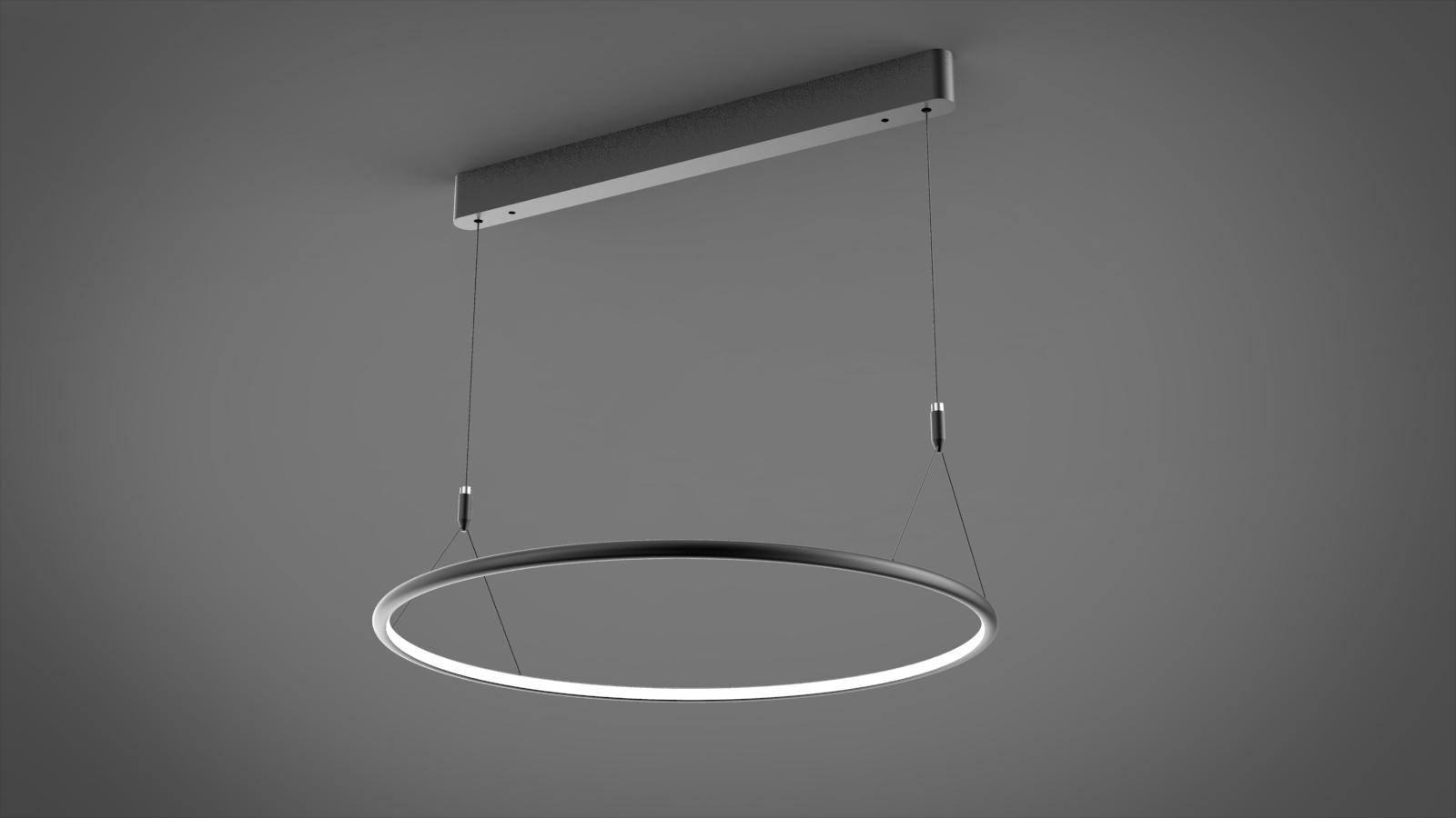 Závěsné LED svítidlo Kruh No.1 CL černé 60cm 3k