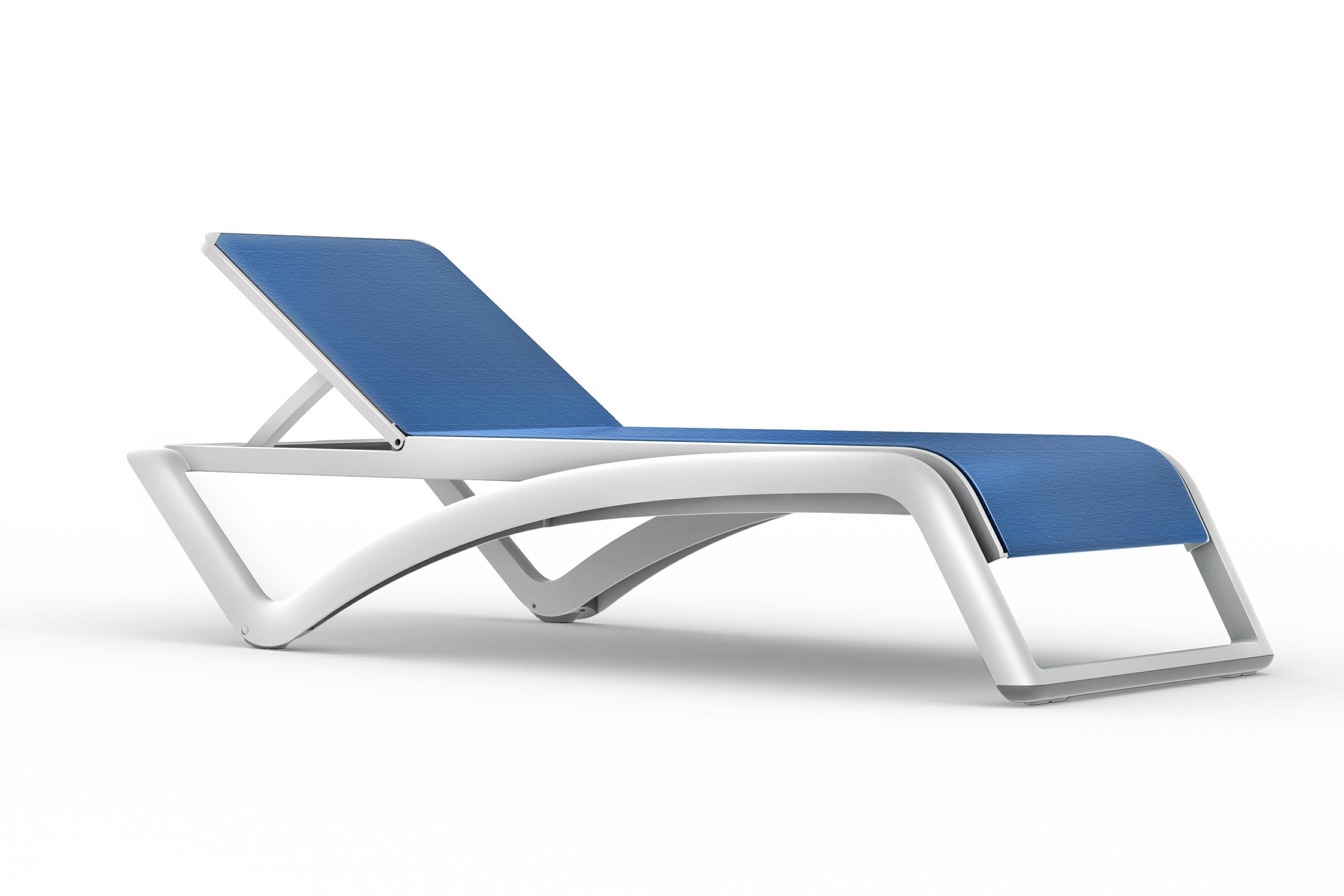 Leżak Sky Club Biały / niebieski - zdjęcie nr 0