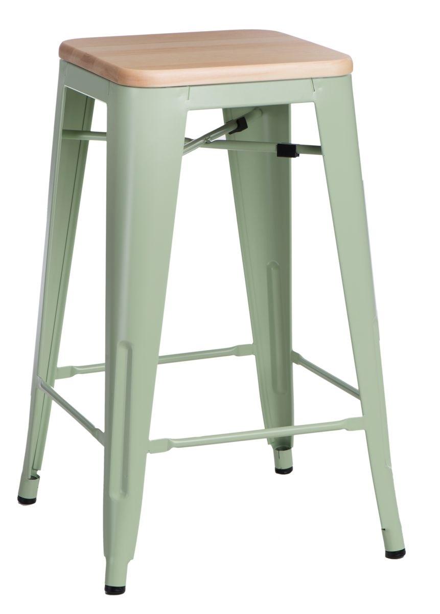 Barová židle Paris Wood 75cm zelená přírodní borovice