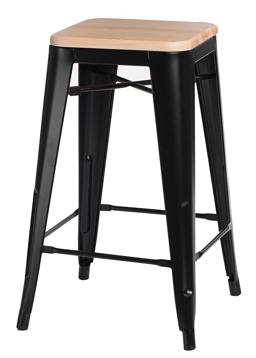 Barová židle Paris Wood 75cm černá přírodní borovice