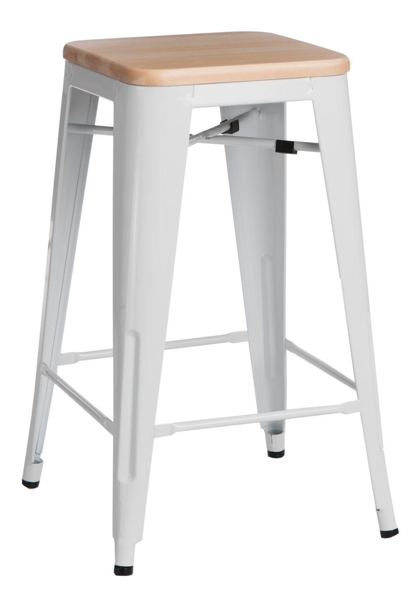 Barová židle Paris Wood 75cm bílá přírodní borovice