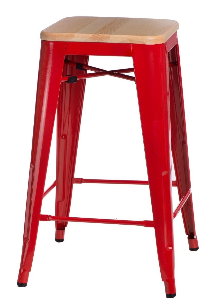 Barová židle Paris Wood 75cm červená přírodní borovice