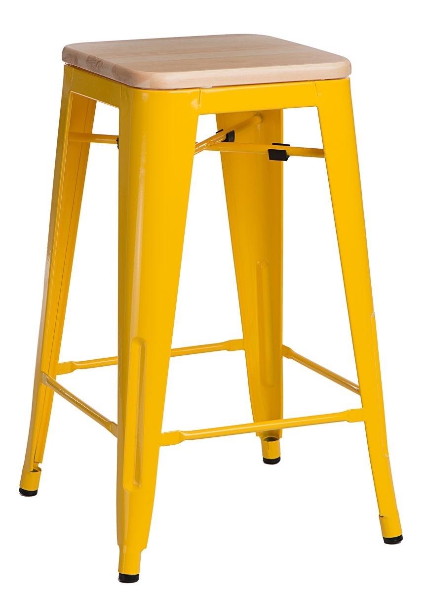 Barová židle Paris Wood 75cm žlutá přírodní borovice