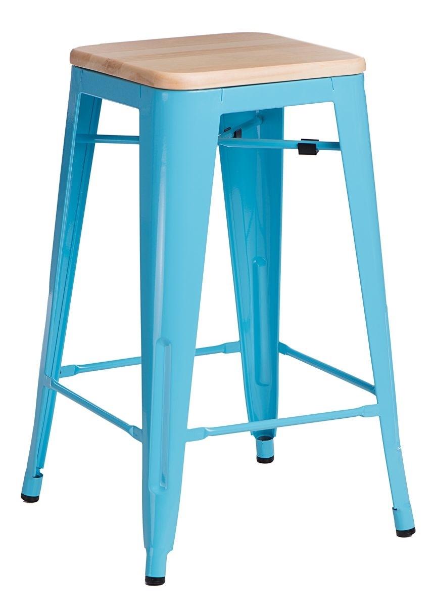 Barová židle Paris Wood 75cm modrá přírodní borovice