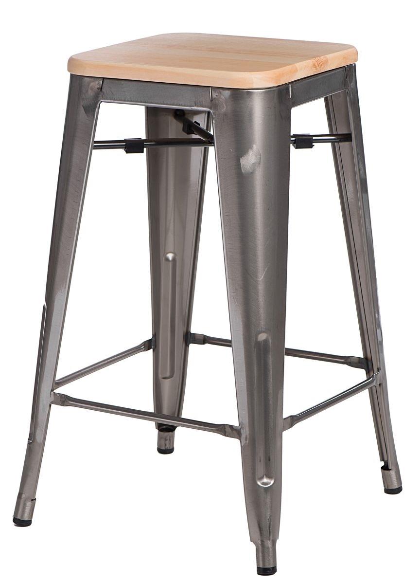 Barová židle Paris Wood 75cm metalická jasan