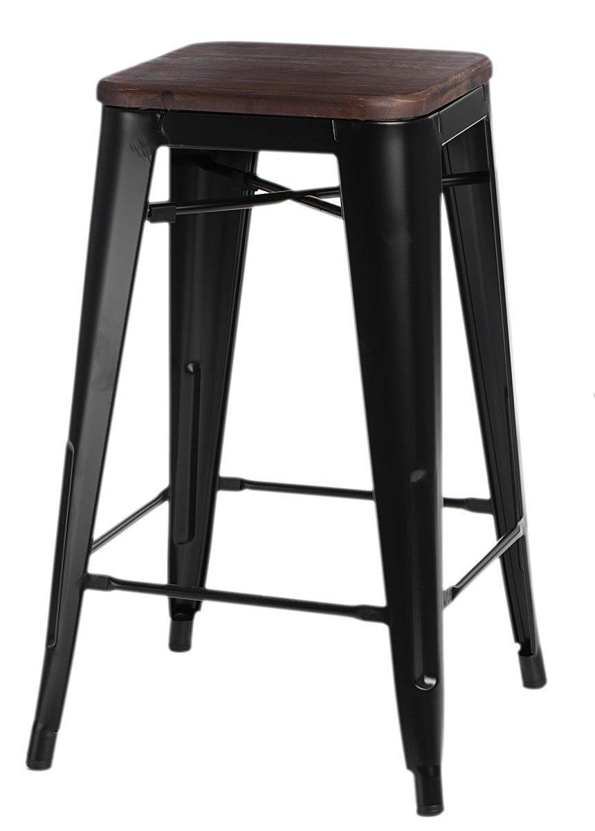 Barová židle Paris Wood 75cm černá borovice ořech