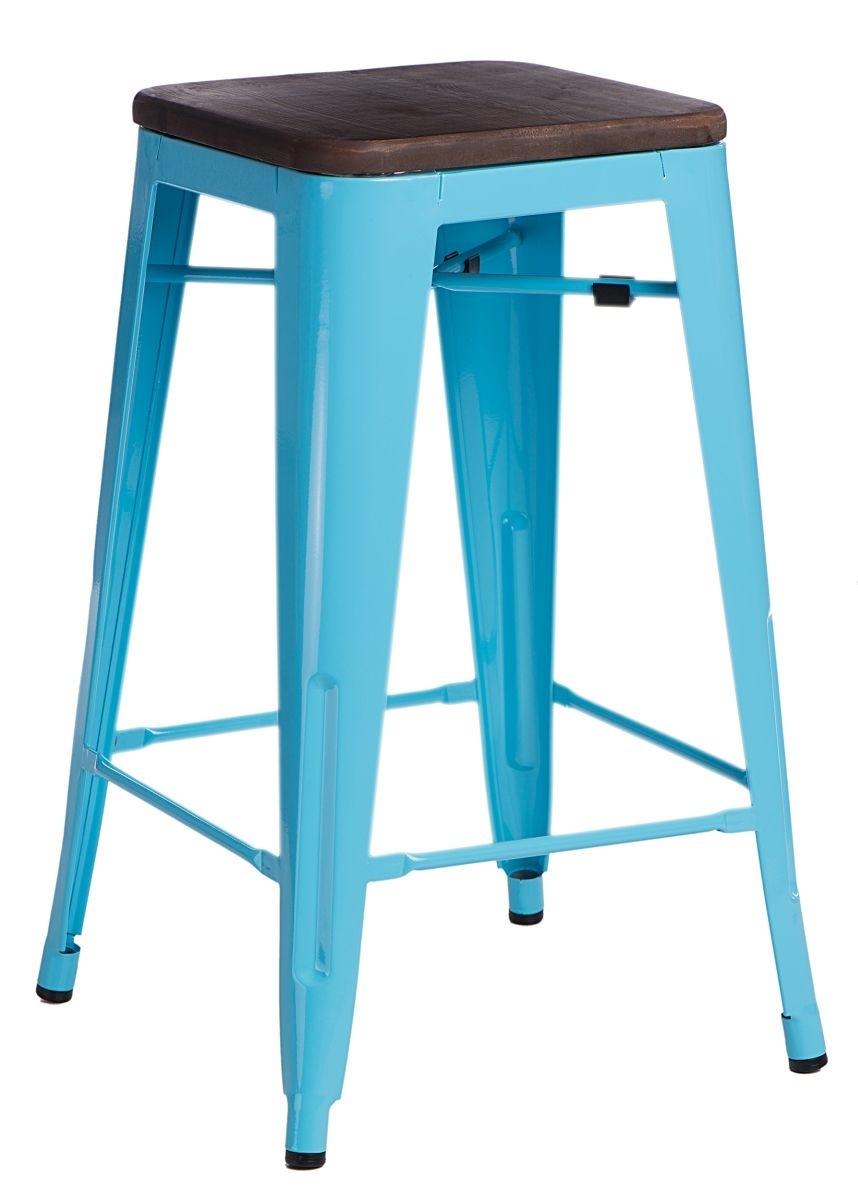 Barová židle Paris Wood 75cm modrá borovice