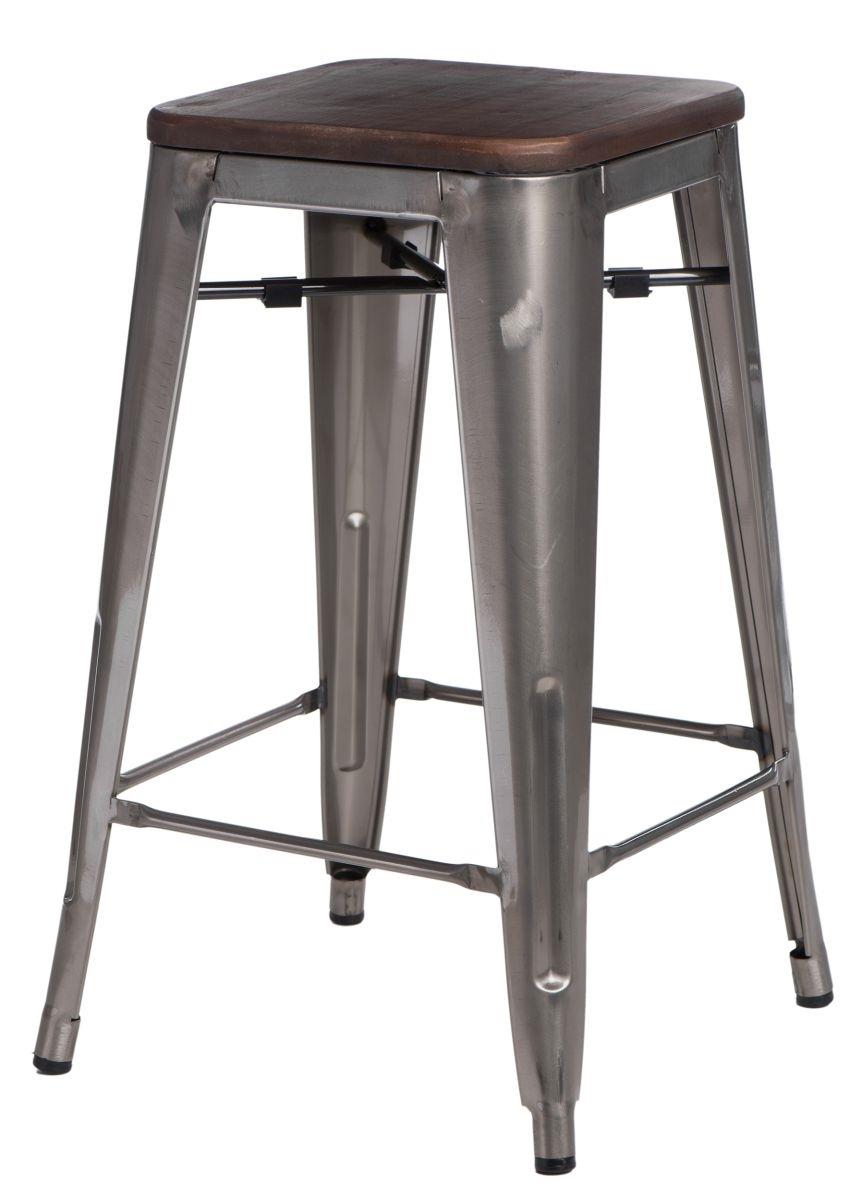 Barová židle Paris Wood 75cm metalická borovice ořech