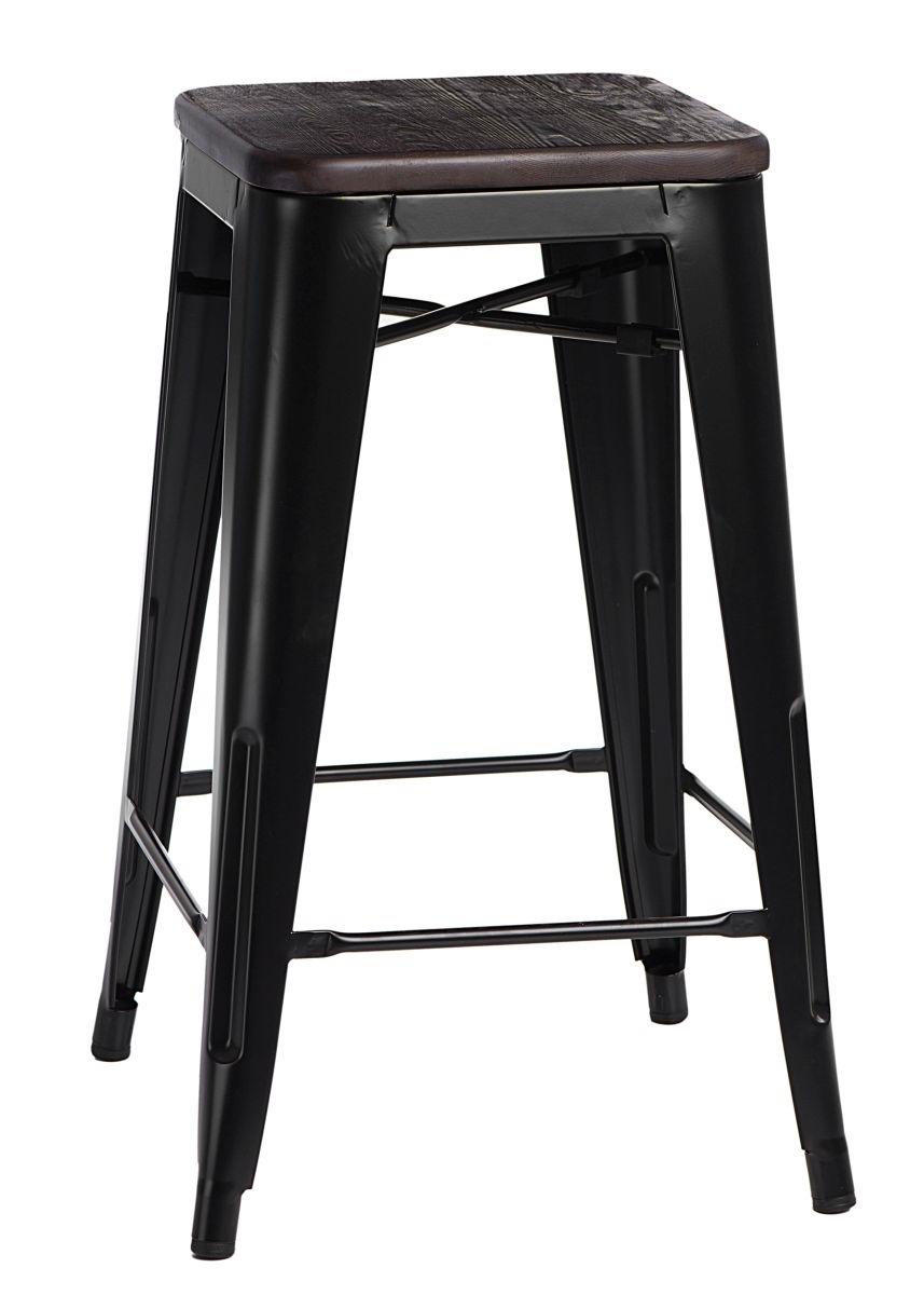 Barová židle Paris Wood 75cm černá kartáčovaná borovice