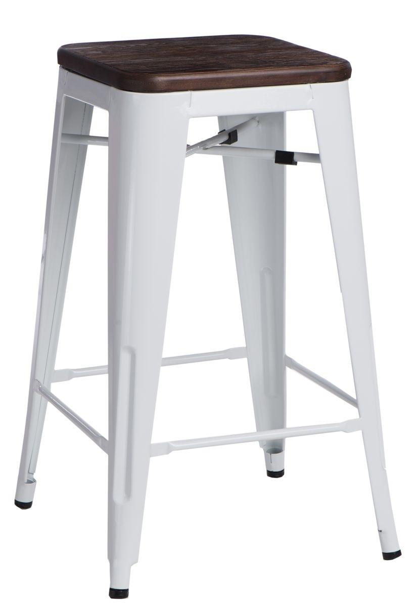 Barová židle Paris Wood 75cm bílá kartáčovaná borovice