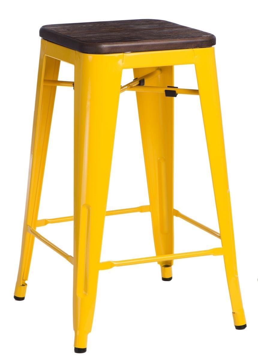 Barová stolička Paris Wood 75cm žlutá kartáčovaná borovice