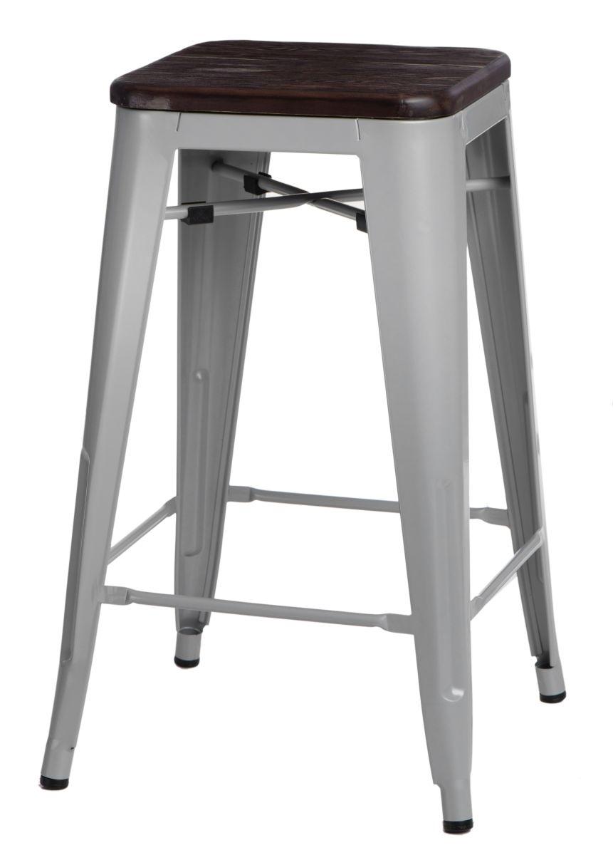 Barová židle Paris Wood 75cm šedá kartáčovaná borovice