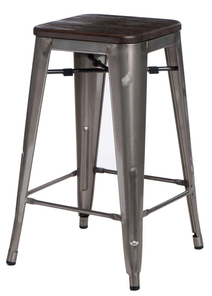 Barová židle Paris Wood 75cm metalická kartáčovaná borovice