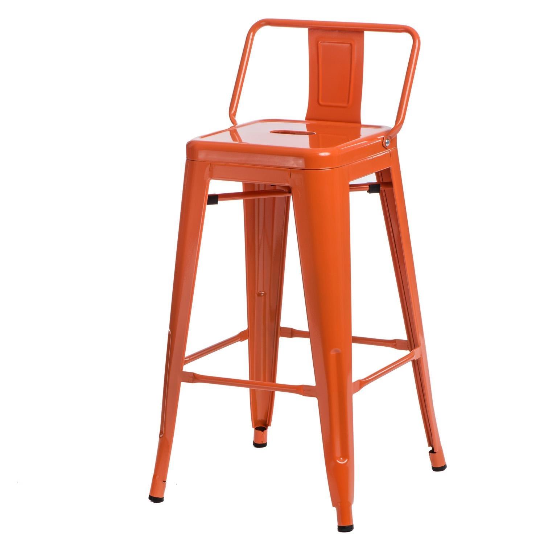 Hoker Paris 66cm short back pomarańczowy insp. Tolix - zdjęcie nr 0