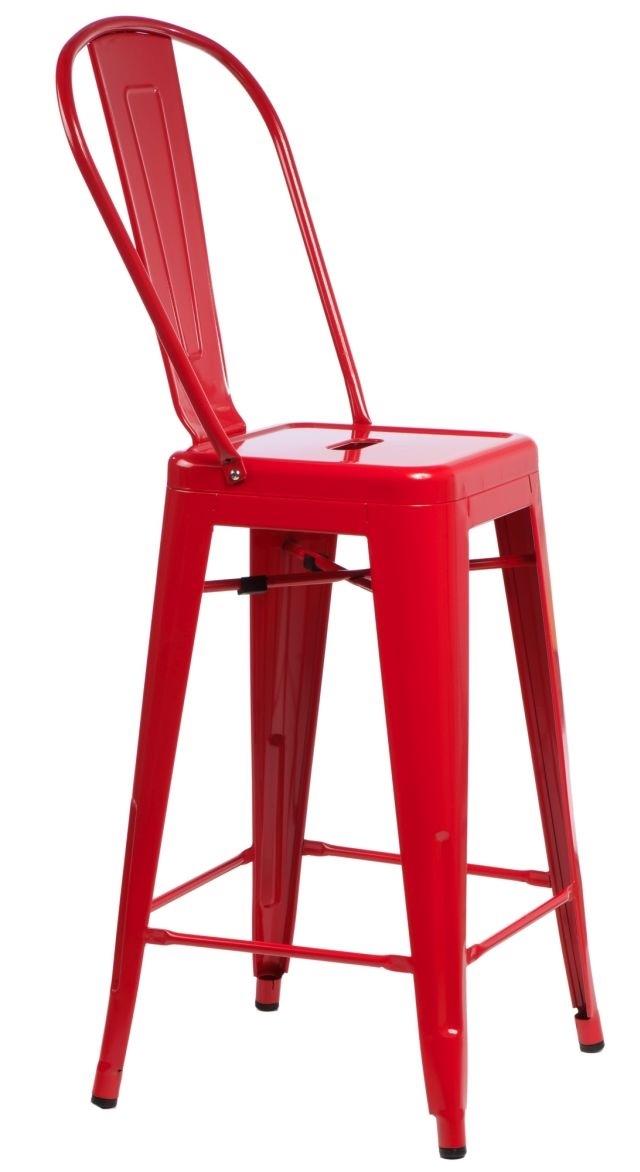 Barová židle s opěradlem Paris Back červená