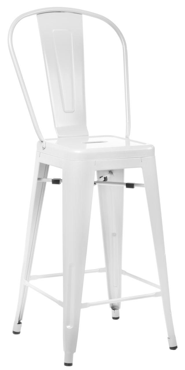 Barová židle s opěradlem Paris Back bílá