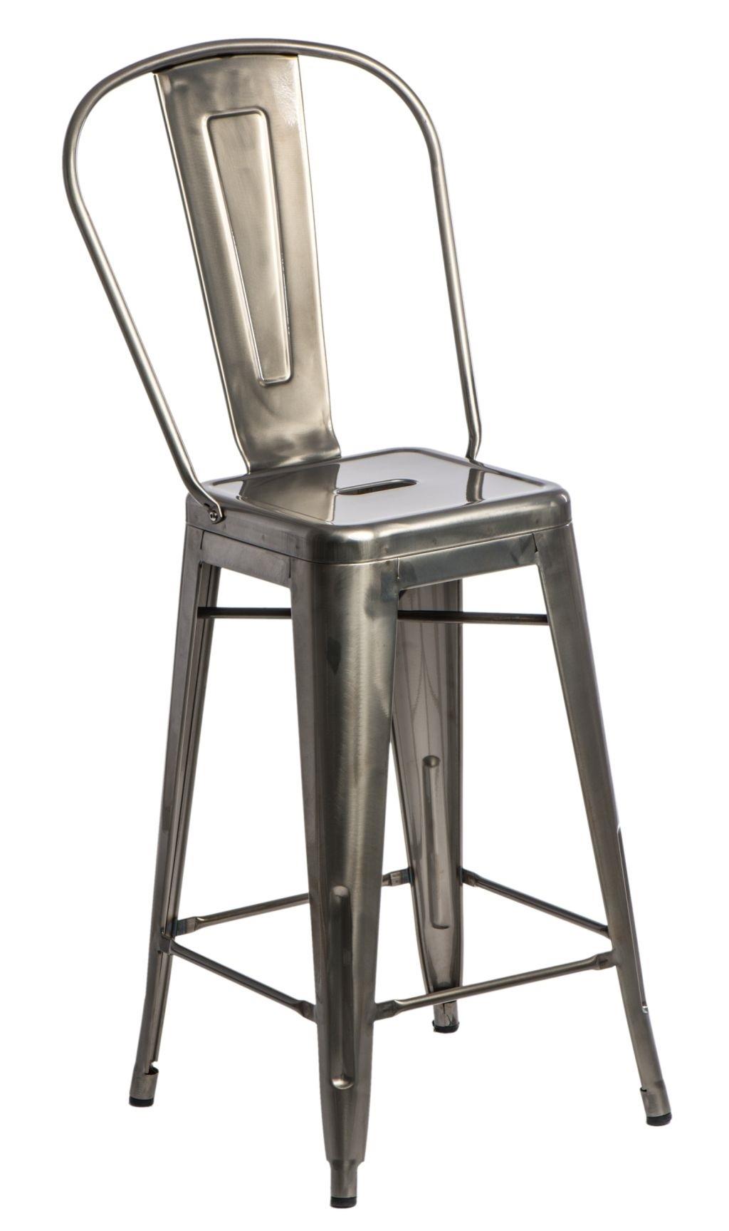 Barová židle s opěradlem  Paris Back metalická