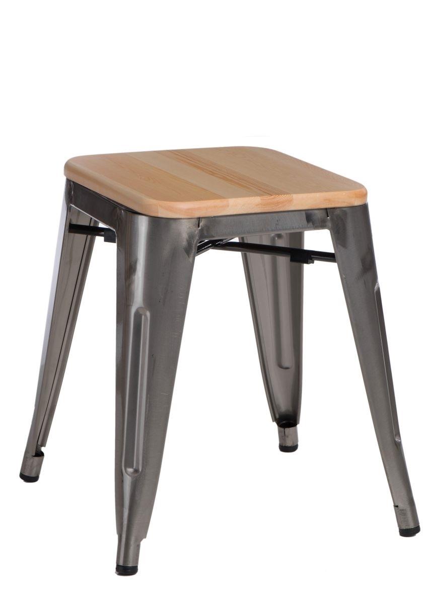 Stolička D2 Paris Wood metalická 45 cm přírodní borovice