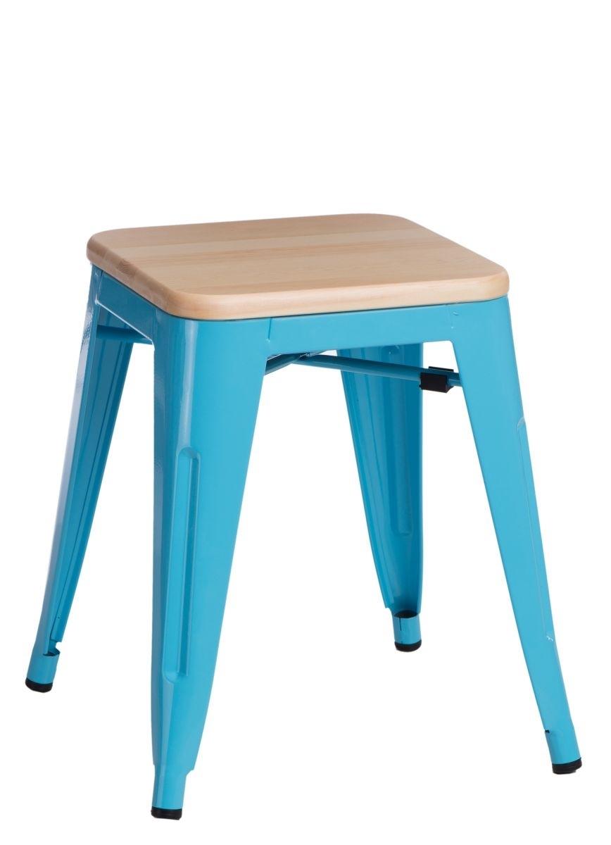 Stolička D2 Paris Wood modrá 45 cm přírodní borovice