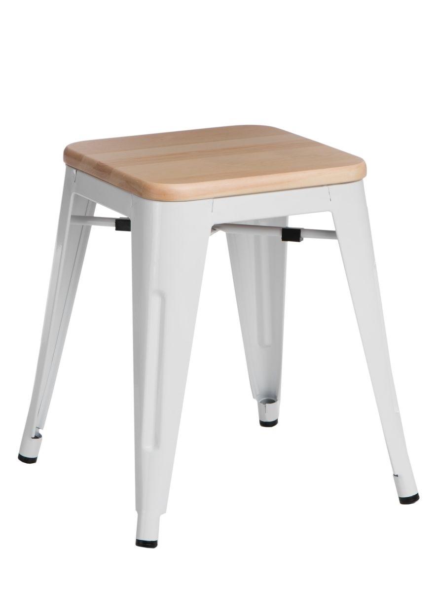 Stolička D2 Paris Wood bílá 45 cm přírodní borovice