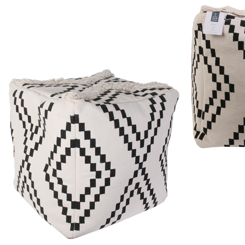 Pufa Berbere biała/ czarna - zdjęcie nr 3
