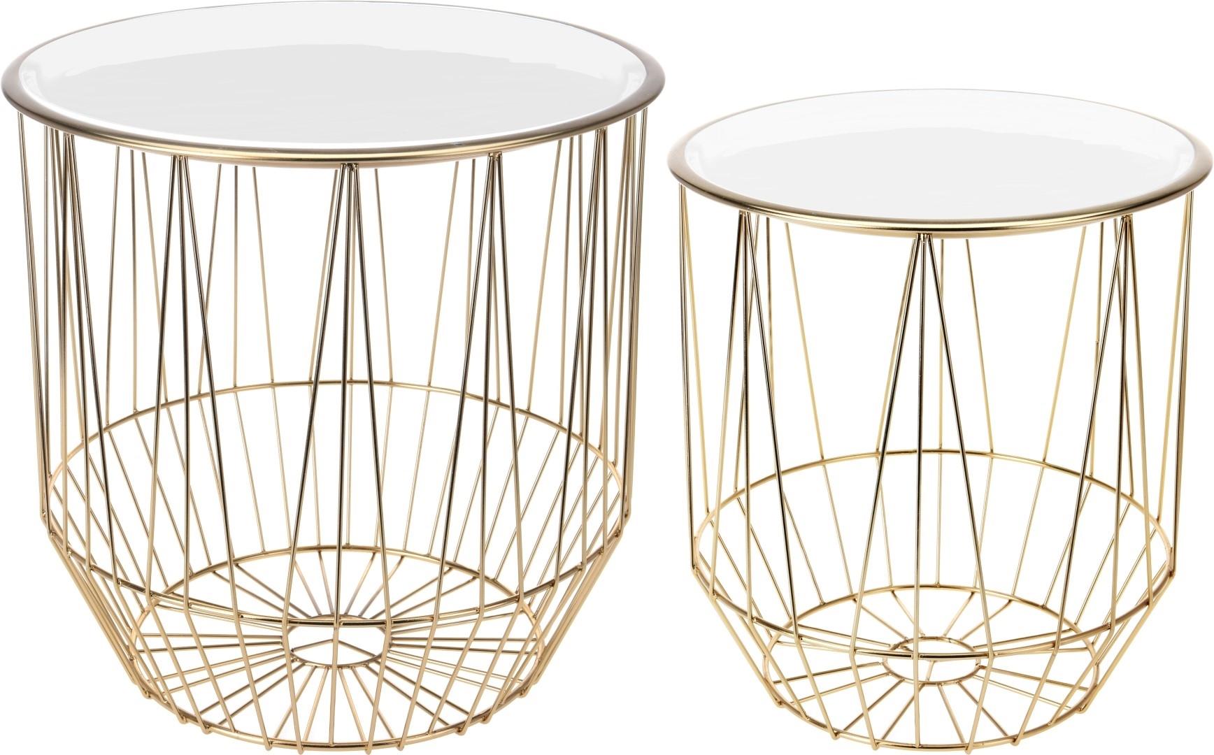 Zestaw stolików Glamour złoty/biały - zdjęcie nr 0
