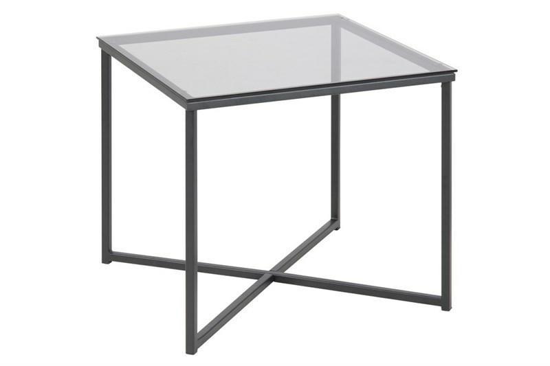 Stolik kwadratowy Cross szkło/czarny - zdjęcie nr 0