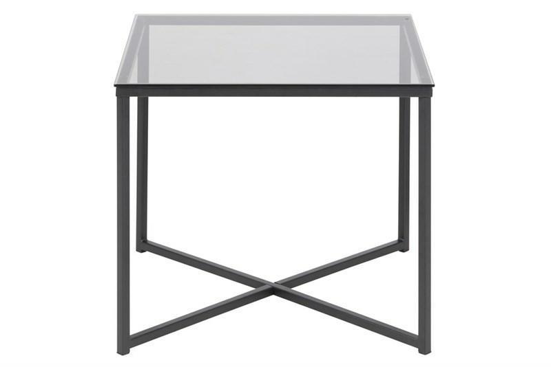 Stolik kwadratowy Cross szkło/czarny - zdjęcie nr 1
