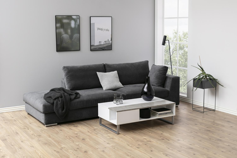 Stolik kawowy Azalea biały betonowe szkł o - zdjęcie nr 5