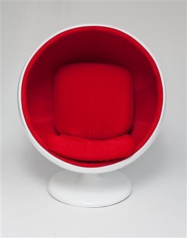 Fotel Kula biało/czerwony - zdjęcie nr 1